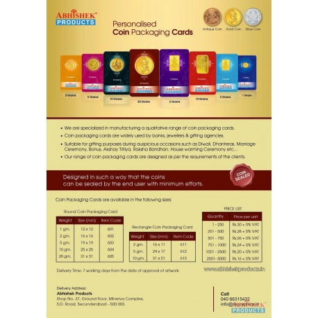Personalised Coin Packaging Cards