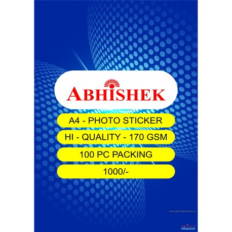 Abhishek A4 170 Gsm Photo Paper - 100 Packing