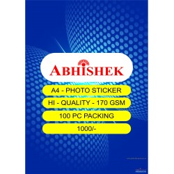 Abhishek A4 Photo Sticker 170 Gsm 100 packing