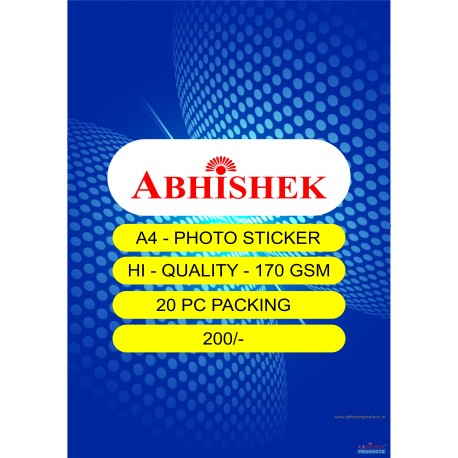Abhishek A4 Photo Sticker 170 Gsm 20 packing