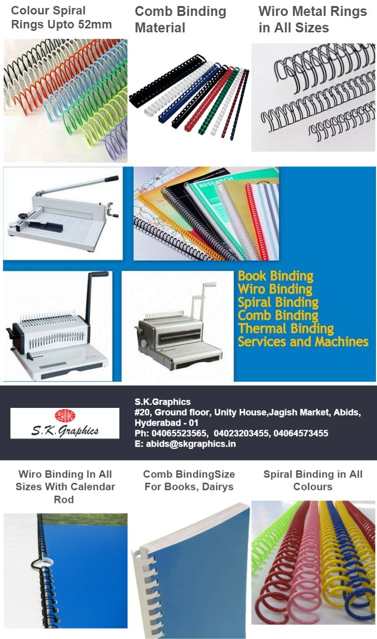 Colourful spiral rings in multiple sizes in all colours with heavy stock Comb Binding for professional book and project binding.Metal Wiro Binding in all sizes and multiple colours. For use in calendar, brochure, pamphlet, books and diariesComb Binding machine, Spiral binding machine, wiro binding machine, electric spiral binding machine, thermal binding machine and machine servicing and repairingSk Graphics + Abhishek Products House Of binding center Calendar Rod Wiro Binding in All Sizes, Wiro binding electric leg machine Comb Binding machine and Combs for book, diary and calendar bindings All Colour Spiral rings Available in 8mm, 12mm, 16mm to 52mm for all book binding