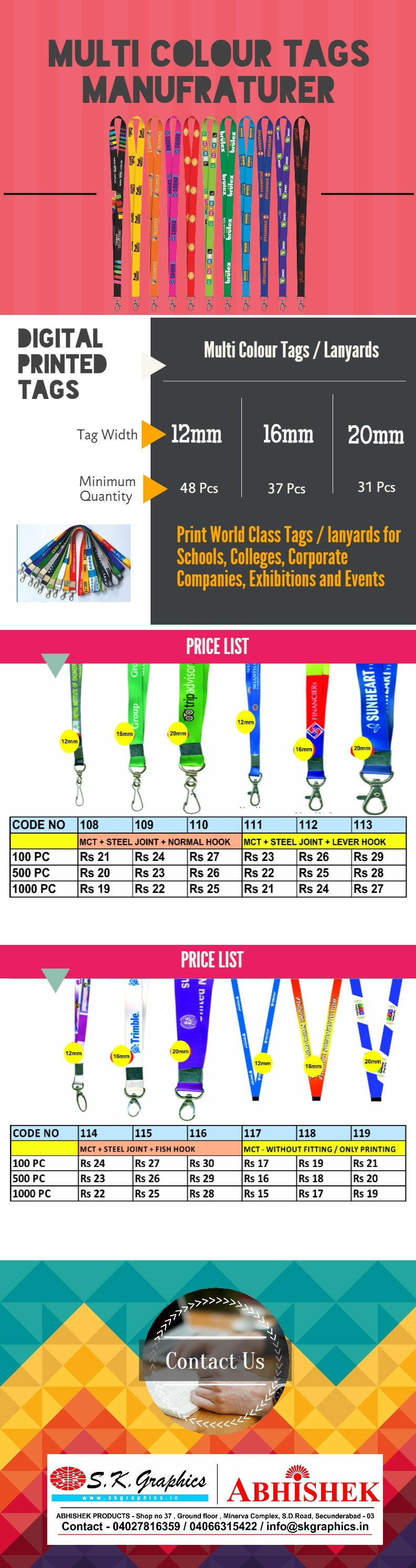 multi colour printed digital tags and lanyard manufacturer